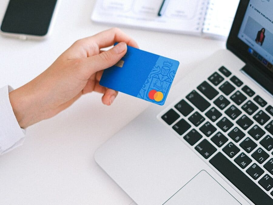 Bank Card Being Used with a Laptop