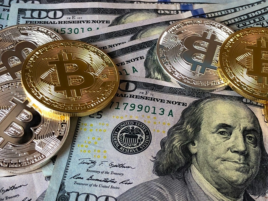 cryptocurrency American cash and bitcoin