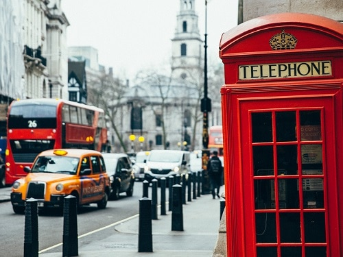 Streets of London with a Bus and Telephone Box