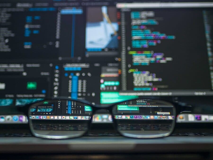 Pair of Glasses in Front of Computer