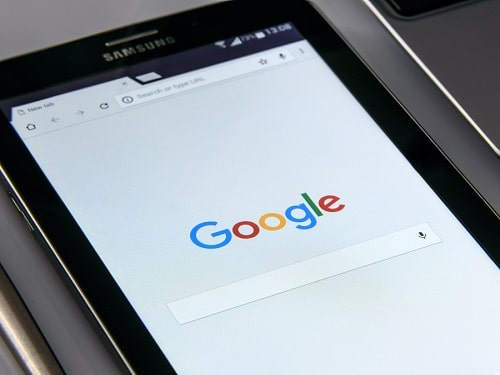 Tablet Open on Google Search Page