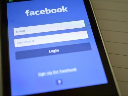 Phone Screen Displaying Facebook Log in Page